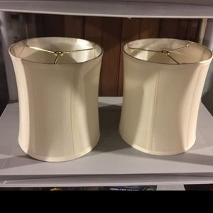 2 White Lampshades with Gold Tops. Brand new!
